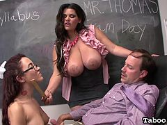 Horny brunette teacher with huge tits likes having threesome sex while at school