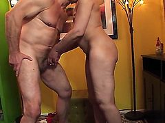 Granny with saggy natural tits named Elektra Lamour takes a dick in her curly haired pussy