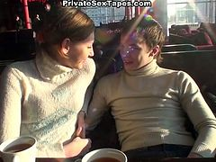 After having a meal in the cafe, slutty amateur chick is still a bit hungry. So voracious slim nympho in sweater takes her boyfriend to the restroom to suck his tasty dick for cum. Doggy fuck is what perverted gal with flossy ass needs to get the burst of energy.