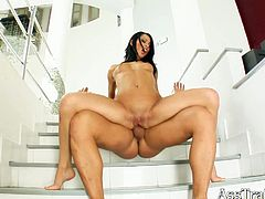Titless brunette slut Black S sandwiched between two dicks