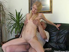 Old geezer shoves his dick into this blonde's nice pink pussy while her boyfriend is just there watching the whole thing.
