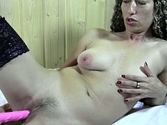 Slutty mature still masturbates as she is used to do when she was young. Her fragile body including her small pair of boobs maker her sexier than ever. She gropes her boobs and squeezes them and then she rubs her hairy pussy between her thighs. She is going to end it with a huge toy in her cunt.