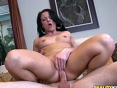 Bootylicious brunette chick strips her clothes off and gives a blowjob. She also fondles her vagina in close-up scenes and rides it passionately.