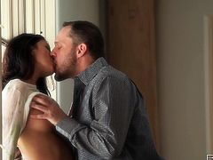Nikki seduces her horny cowboy at the hallway. Stud licks her delicious perky tits and then Nikki goes down on her partner sucking his mighty cock.