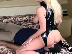 Busty blonde milf likes dominating her guy and making him obey her dirty needs in femdom