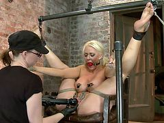 Superb mommy Taylor has a pair of big hot boobs and a tight pussy. She needs some serious punishment and the skilled mistress knows how to applies one. She puts clamps on her nipples and on her pussy lips and then holds them together. Taylor should be careful how she moves from now on!