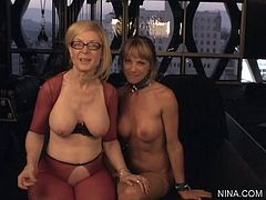 Mature and young babe are having intense pleasure playing nasty in lesbian show