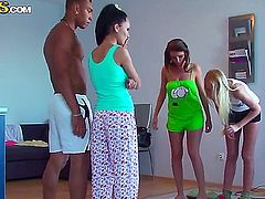 Seductively hot naughty college bitches Aly Anabel Ivana and Milia fuck their hot thick shafted dude till her cums