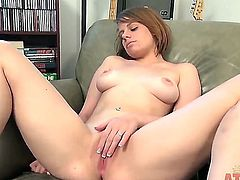 Shelly Starr is sitting in leather armchair and naughtily fingering her twat and then bents over on her knees and gets on fingering her asshole.