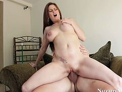 Cum addicted chestnut cutie can boast of awesome big boobs and appetizing smooth ass. Wondrous chick was born to give a blowjob and titfuck. This terrific dick rider won't let the dude go till she gets her wet pussy polished properly.