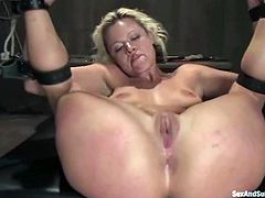 Sexy blonde Jasmine Jolie is playing dirty games with Mark Davis in a basement. Mark ties the hottie up and pokes his dick into her mouth before destroying her sweet pussy doggy style.