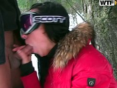 Brunette russian babe has wild sex session in outdoor and loves it