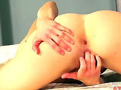 Blonde asian Bella Bends with tiny tits and smooth bush does striptease before she sticks vibrator in her pussy