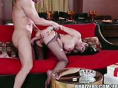 Brunette MILF Eva Karera, smoks on the floor and opens her legs wide to take a huge stiff dick deep inside her pussy!