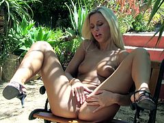 Lola MyLuv enjoys deep fingering and pinching her cunt during naughty outdoor solo