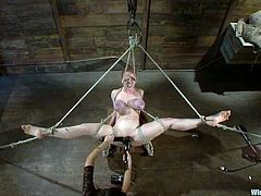 Curvaceous blonde chick stand on all fours on big wooden box being tied up. She also gets her ass and vagina toyed hard.