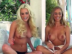 Blonde babe Nicole Aniston and her not less sexual blonde girlfriend are sitting in tiny panties only before camera and talking dirty before starting cool lesbian sex.