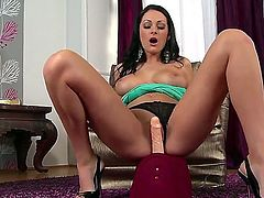 What a cool hottie Nicole Smith is! Brunette beauty that got nice forms of body is demonstrating some of them before starting to have a lot of fun with tireless sybian.