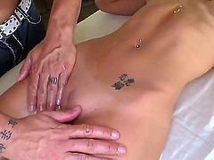 Big boobed brunette pornstar Capri Cavalli gets unforgettable intimate massage from pretty fellow. He massages her nicely before screwing mouth and twat of nymph.
