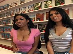 Two horny latinas with nice butts and juicy boobs are going to share a white man's dick in this FFM threesome packed with hardcore action and moaning.