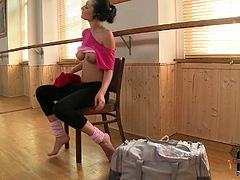 She is ex ballerina having incredible skills and boneless body. She shows how she used to work in a gym stretching her body. She also shows you her succous boobs and tender tootsies.