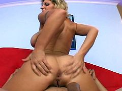 Big tits blonde milf riding hard cock in her super wide pussy as she tries to seduce us with her lewd ways.