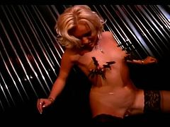 Check out these two hot blonde slave gals acquire down on their knees and give head to their master,These crazy wild chicks in sexy outfits get spanking and torturing by sexually excited master.