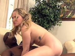 Pale skinned blonde girl with big natural tits Aiden Starr and her big dicked Ebony stepdaddy Lee Bang