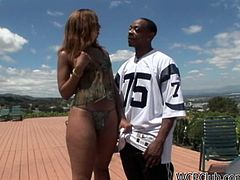 Curvy black gal with nice rounded ass and sweet boobs wears bikini and looks gorgeous. Appetizing frizzy brunette doesn't waste time. She seduces a black dude and stands on knees to give a solid blowjob for sperm to his fat and long cock.