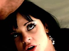 Young black haired beauty Anastasia Brill with long legs and big firm hooters in high heels and provocative stockings gets gets tight ass boned deep by the fire place.