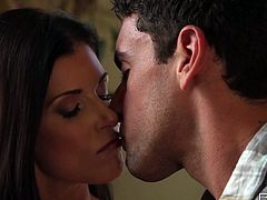 Lewd brunette madam India Summer looks like sex goddess. One lucky guys strokes her sexy legs and kisses her tight titties with an extra passion.