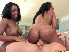 That lucky white blonde dude gets his head squeezed with awesome black booties. These gorgeous ebony babes are ready to ride and fuck him in FFM threesome.