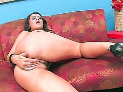 Charley Chase with big knockers and clean muff kills time rubbing her love tunnel
