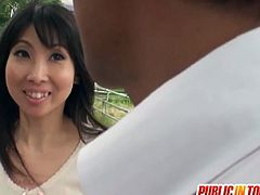 This Japanese milf has her hairy pussy stimulated and penetrated on the bus. She also blows a guy's cock.