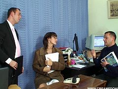 This cock hungry slut know how to make her friends happy. She blows them right there in the office, moving from one dick to the next with her filthy mouth. Dude, this orgy scene will make you cum!