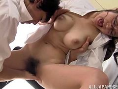 Sexy Nana Ogura gets her boobs licked and hairy pussy fingered. After that she lies down on the floor and gets her vagina destroyed.