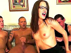 Brunette gets her mouth fucked hard and deep