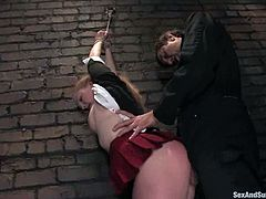 Nasty girl Laci Laine is playing dirty games with Steve Holmes in a cellar. She lets him bind and torture her and then enjoys having his dick in her mouth and delicious coochie.