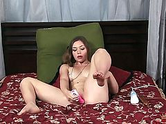 Brunette asian Aurielee Summers with clean muff cant stop touching her cunt