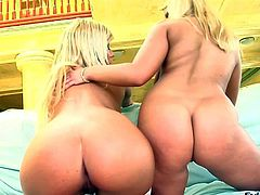 Lucy Love and Sandra Parker are mouth-watering blonde babes that demonstrate their perfect round asses and tight pussies before they tongue fuck each other. Watch fair-haired dykes do it.