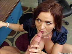 Busty new brunette secretary Krissy Lane enjoys in doing all what it takes to please her boss Bill Bailey and gives him a blowjob in the office on floor