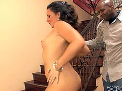 Zealous black head with sweet natural tits and flossy rounded ass seduces a horny black dude, takes him home and bends over the steps. All this harlot with curly hair needs is to get her wet juicy pussy eaten and fucked from behind tough.