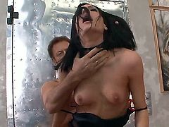 Aliz gets her many times used mouth stuffed again by Rocco Siffredi before anal hole fucking