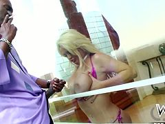 Hot blondie with droopy big boobs Alexis Ford sucks a black lollicock