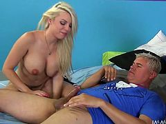 Brunette and blonde beauty is playing with this guy and they are keeping him very busy as one of them is sitting on his face to make it a easier to suck and the other one, at the same time is sucking his dick. Then both of them is putting their concentration to please him with wonderful blowjob.