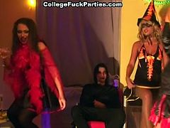 Every college girl at this party is dressed very sexy. They take a guy they like and fuck his brains out.