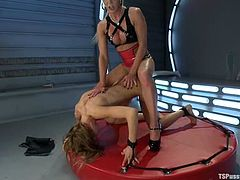 Hot blonde shemale Joanna Jet is playing dirty games with sexy fair-haired chick Rain DeGrey. They turn each other on and then have hot multiposition sex.