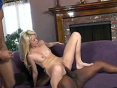 Blonde slut Courtney Taylor with natural tits and soft pale skin gets gets tight asshole and wet pink twat banged rough by two randy black bulls in living room threesome.