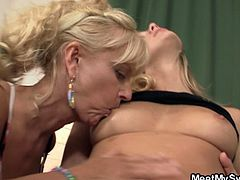 Watch a horny blonde babe getting her clam munched by her mother-in-law while her father-in-law bangs her shaved slit into a breathtaking explosion of pleasure.