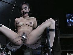 A slutty chick gets gagged, restrained and toyed with in this intense BDSM scene packed with dirty kinky action. Check it out!